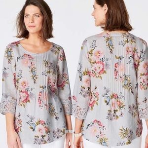 J. Jill Love Linen Top Floral Lace Pleated